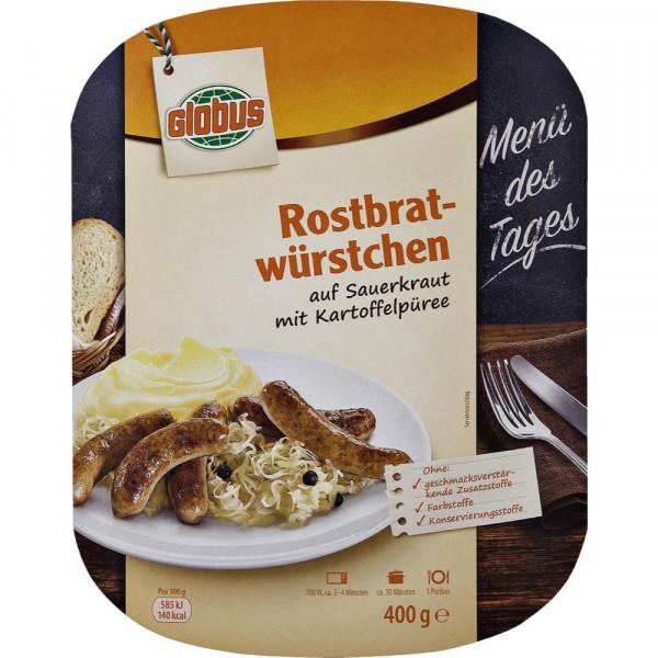Rostbratwürstchen mit Sauerkraut & Püree