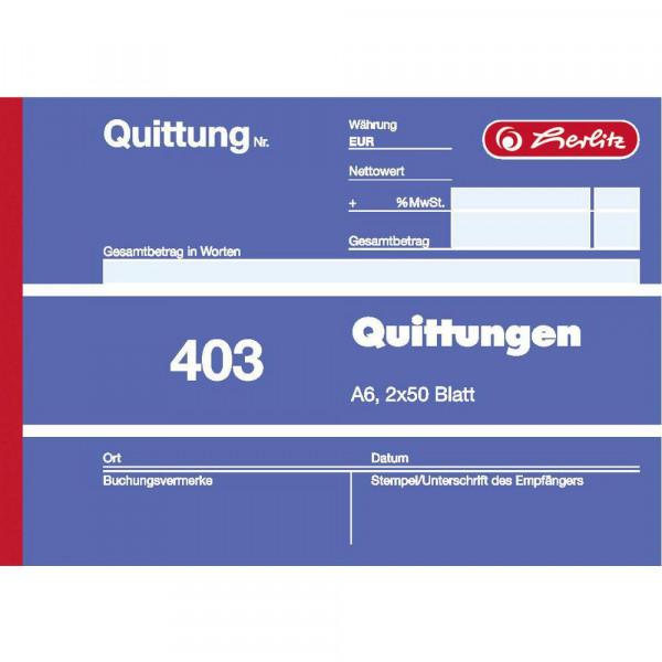 """Quittungsblock """"403"""" A6, 2 x 50 Blatt"""