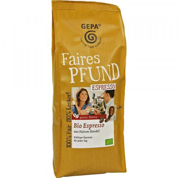 Das Faire Pfund Bio Espresso, ganze Bohne