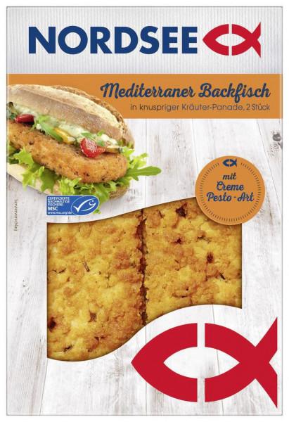 Mediterraner Backfisch mit Pestocreme