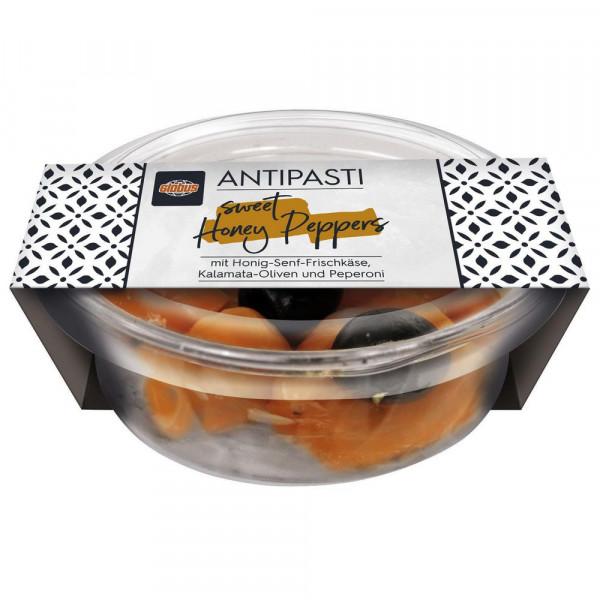 Paprika, gefüllt mit Honig-Senf-Frischkäsecreme