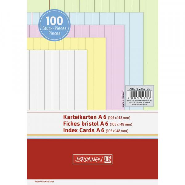 Karteikarten liniert DIN A6, farbig sortiert