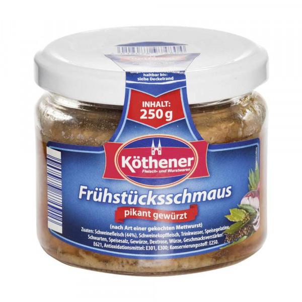 """Brotaufstrich """"Frühstücksschmaus"""" nach Art einer gekochten Mettwurst"""