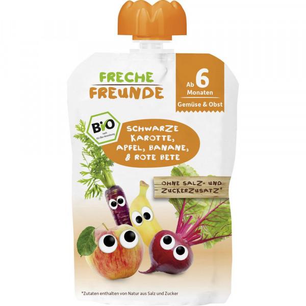 Bio Baby Quetschbeutel, Schwarze Karotte/Apfel/Banane/Rote Beete