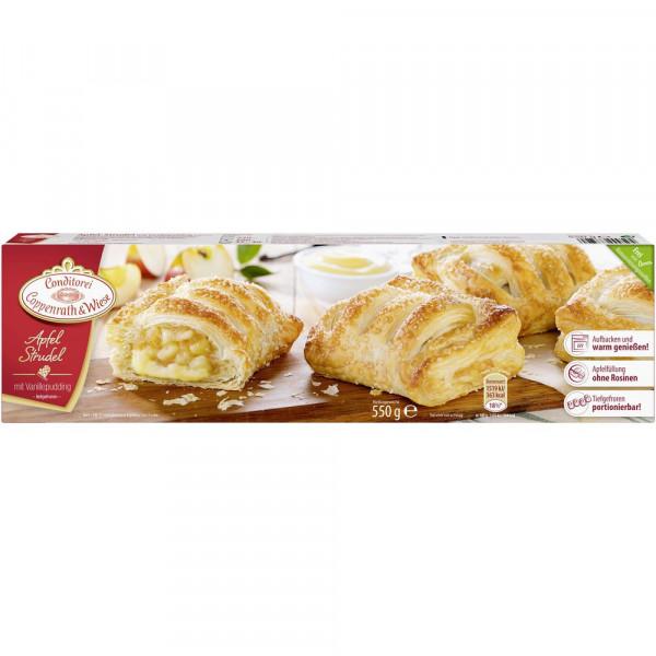 Apfelstrudel mit Vanillepudding, tiefgekühlt