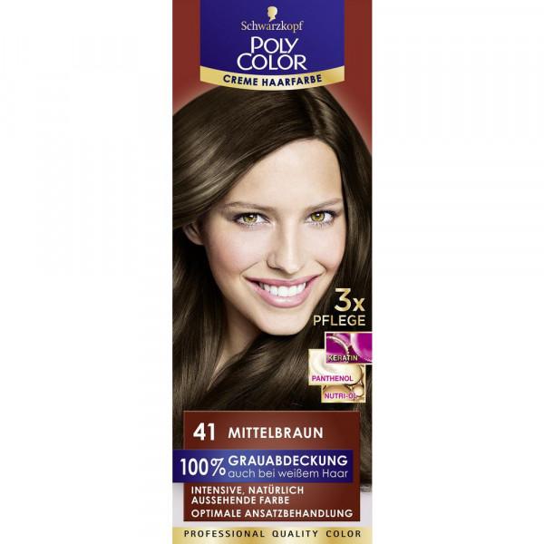 "Haarfarbe ""Poly Color"", 41 Mittelbraun"
