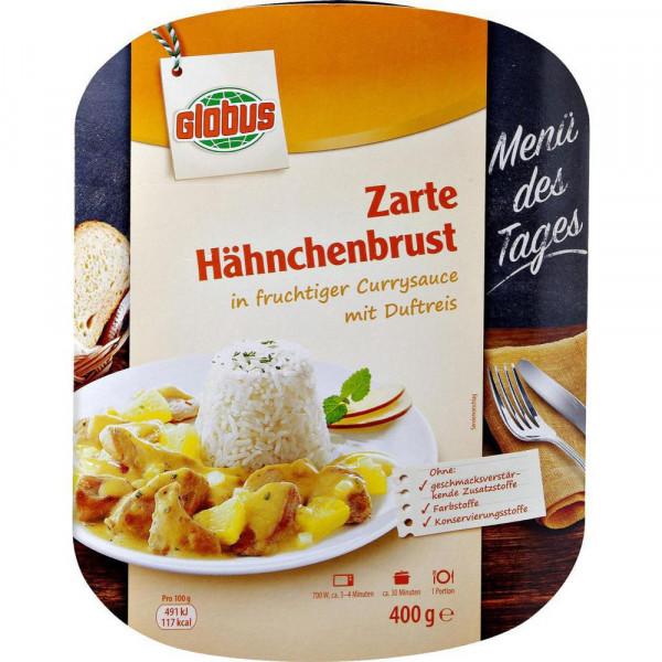 Hähnchenbrust in Currysauce mit Duftreis