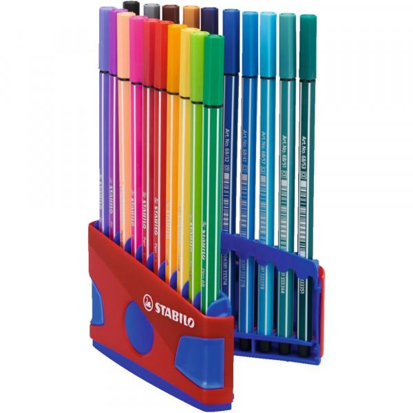 "Premium-Filzstift ""Pen 68 ColorParade"" rot/blau, 20 Farben"