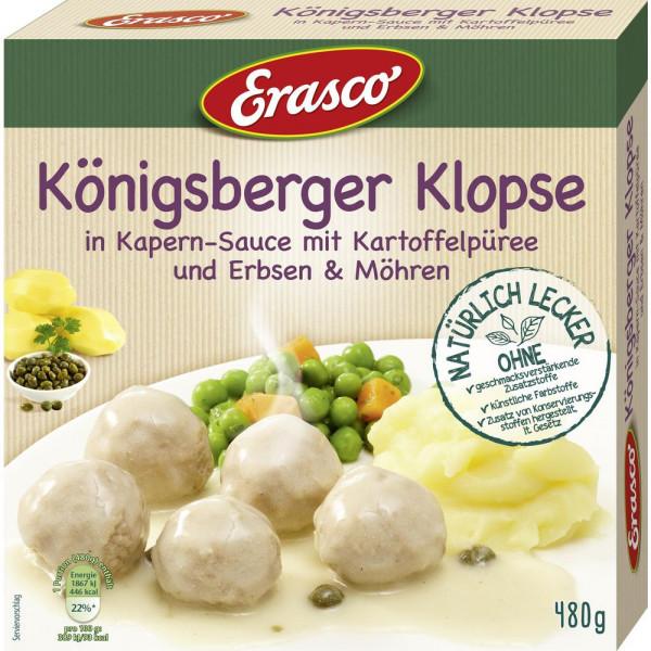 Königsberger Klopse in Kapern-Sauce mit Kartoffelpüree, Erbsen & Möhren