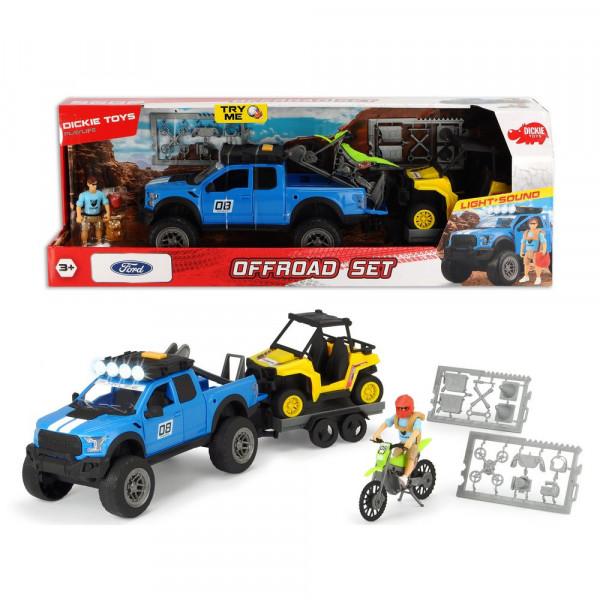 Playlife-Offroad Set, SUV, Ford Raptor Geländewagen, Anhänger mit Quad