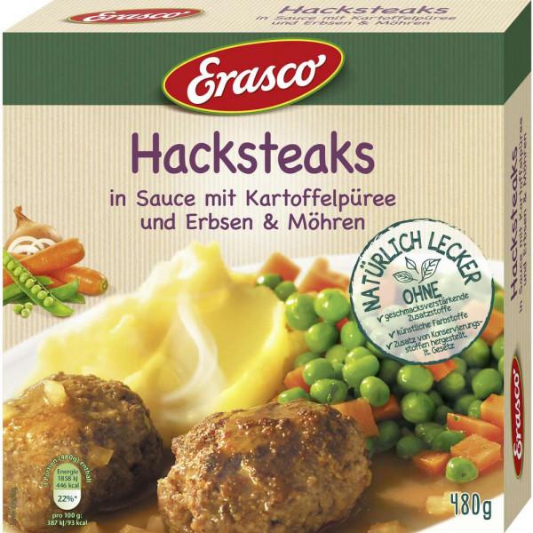 Hacksteaks in Sauce mit Kartoffelpüree, Erbsen & Möhren