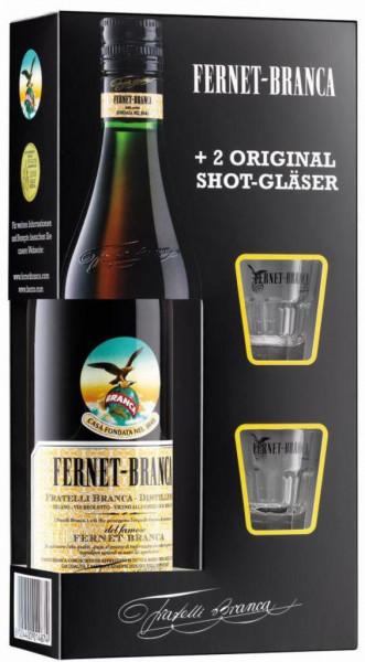 Kräuterlikör Fernet Branca + 2 Gläser 39%