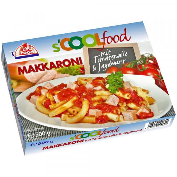 Makkaroni mit Tomatensoße und Jagdwurst, tiefgekühlt