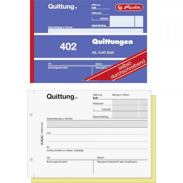 """Quittungsblock """"402"""" A6, 2 x 40 Blatt"""