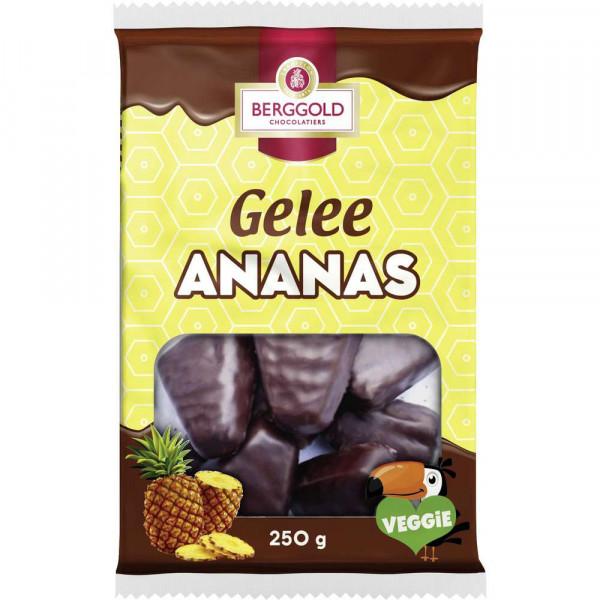 Schokolierte Geleestücke mit Ananasgeschmack