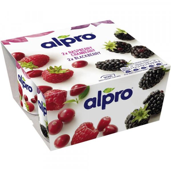 Soja-Joghurtalternative, Himbeere-Cranberry/Brombeere 4 x 125g
