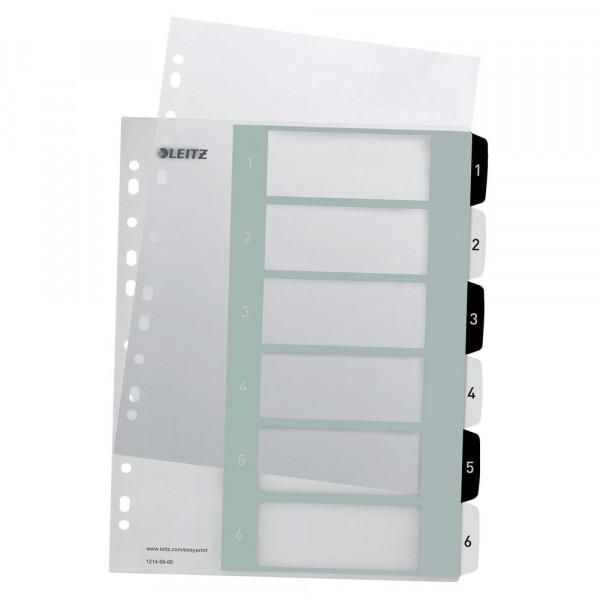 PC-beschriftbares Register, PP, extrabreit, A4, schwarz-weiß, 1-6