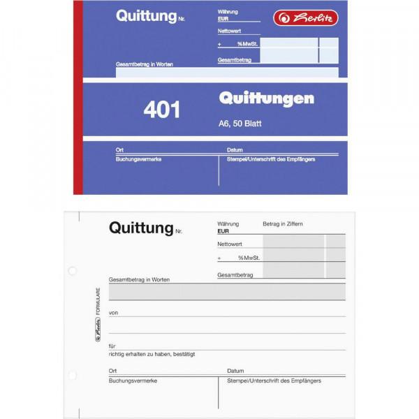 """Quittungsblock """"401"""" A6"""