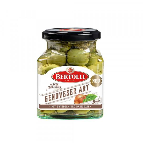 Oliven Genoveser Art, mit Zwiebeln und Basilikum