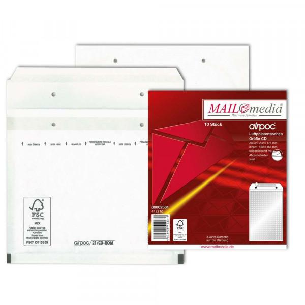 Luftpolstertaschen CD 200 x 175 mm, haftklebend, weiß 90 g/m²