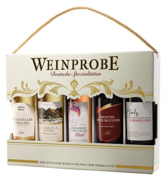 """Geschenkverpackung """"Weinprobe Deutsche Spezialitäten"""", 5 x 0,25l"""