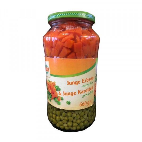 Junge Erbsen & Karotten
