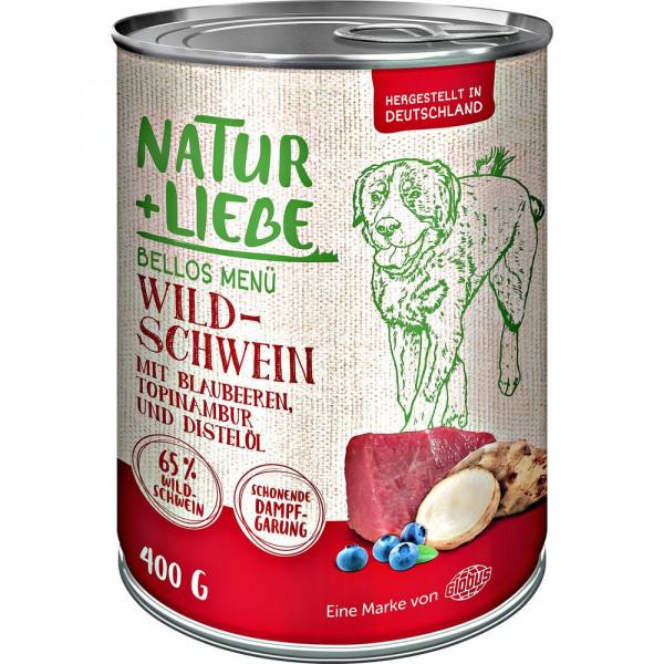 Hunde Nassfutter mit Wildschwein, Blaubeeren, Topinambur und Distelöl