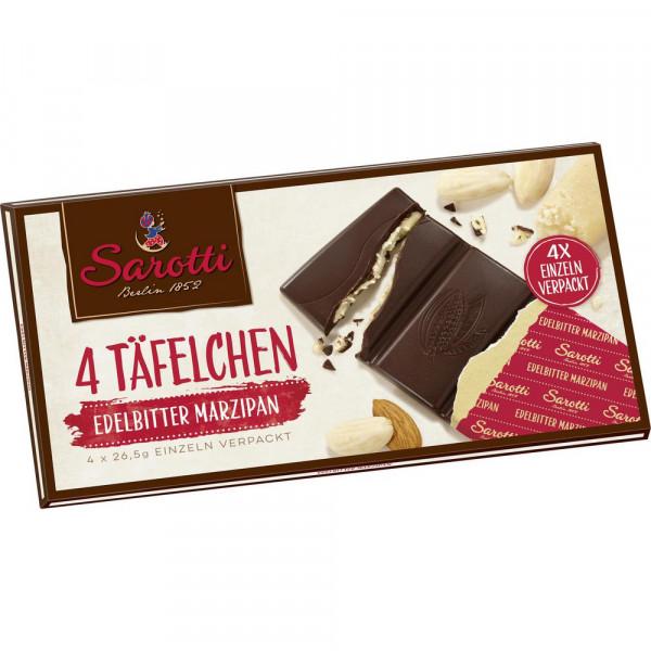 "Schokolade ""4 Täfelchen"", Edelbitter/Marzipan"