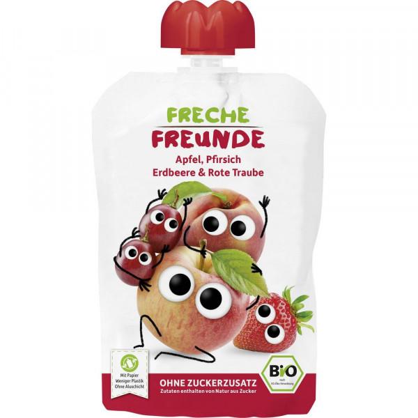Bio Kinder Quetschbeutel, Apfel/Pfirsich/Erdbeere/Rote Traube