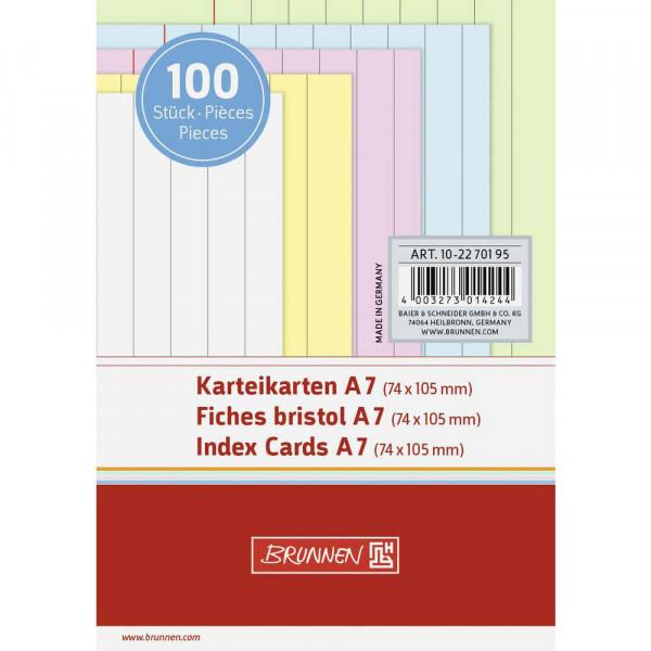 Karteikarten liniert DIN A7, farbig sortiert