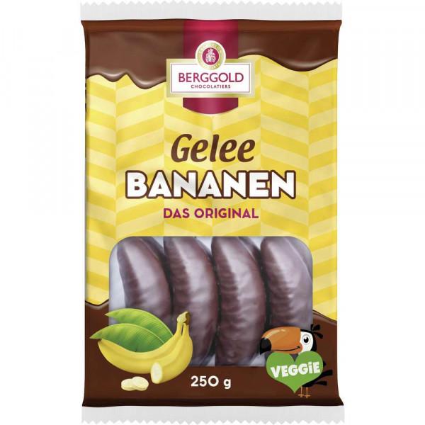 Schokolierte Geleestücke mit Bananengeschmack