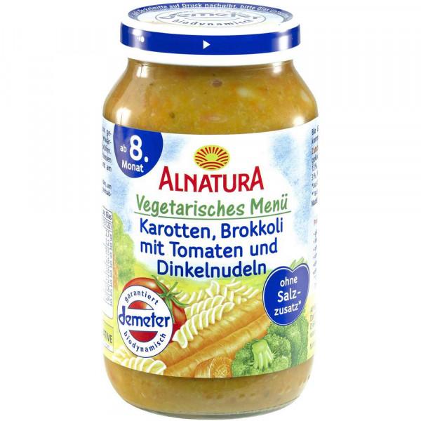 Bio Babynahrung Menü, Karotte/Brokkoli/Tomaten mit Dinkelnudeln