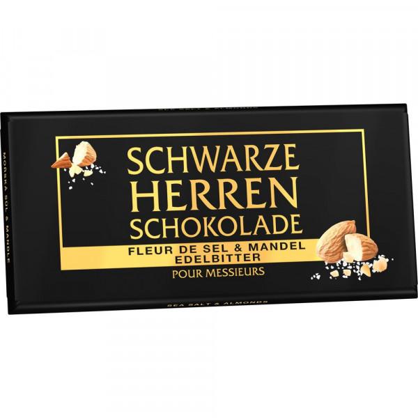 "Schwarze Herren Schokolade ""Fleur de Sel & Mandel"", edelbitter"