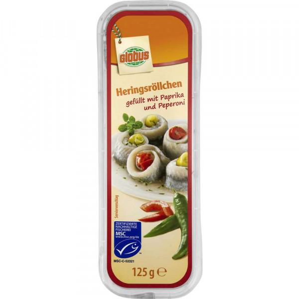 Heringsröllchen gefüllt mit Paprika & Peperoni