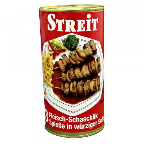Schaschlikfleisch-Spieße in würziger Soße