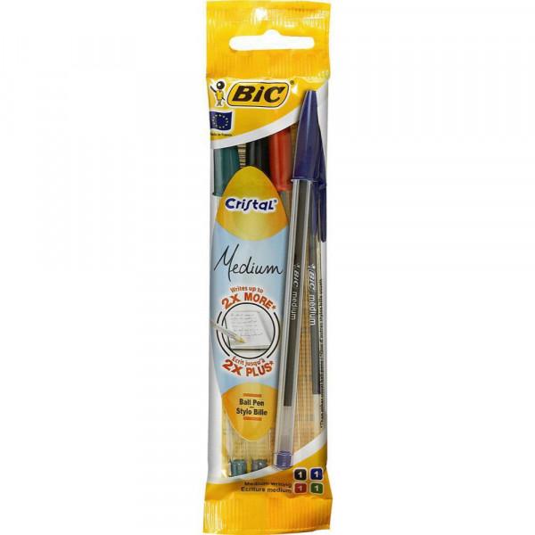 Kugelschreiber, Cristal, 4er, bunt
