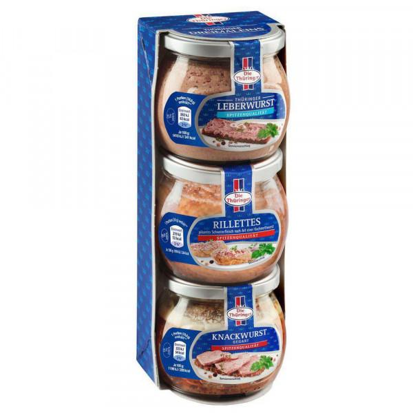Thüringer Dreimaleins, Leberwurst, Rillettes und Knackwurst