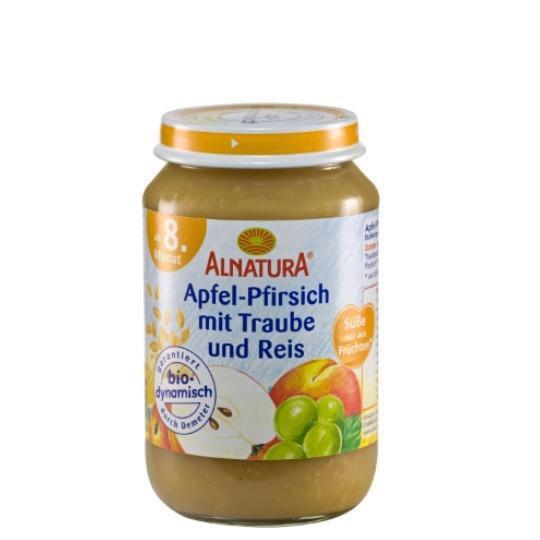 Babynahrung Früchte Apfel/Pfirsich/Traube mit Reis, ab 8. Monat