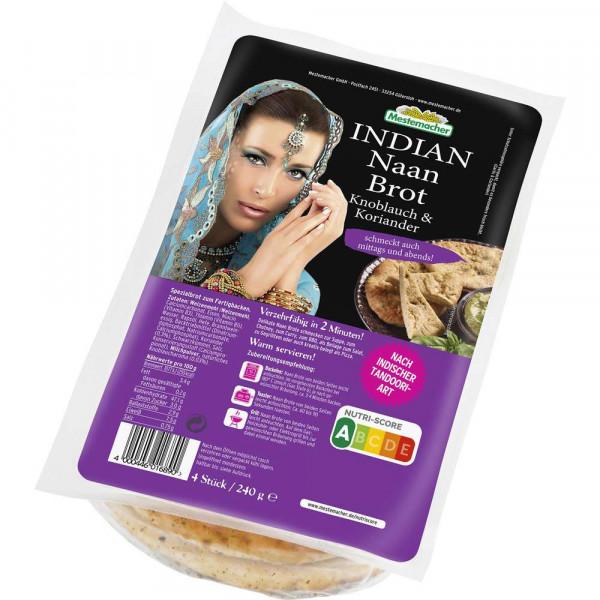 Indian Naan Brot, Knoblauch & Koriander