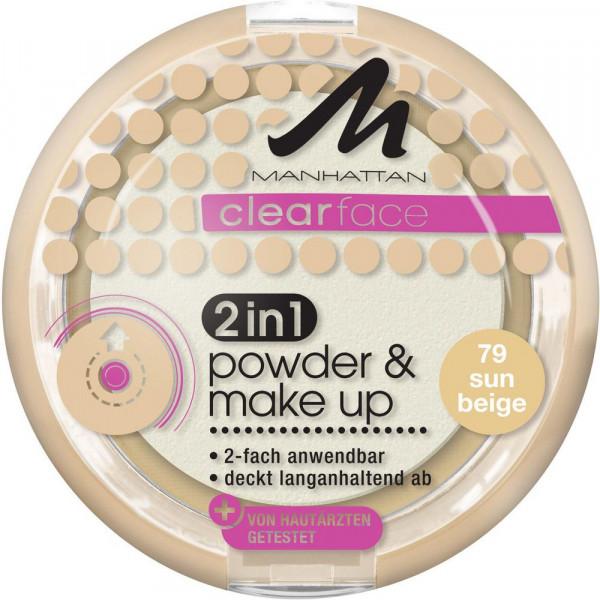 Clearface 2 in 1 Powder & Make-Up, Sun Beige