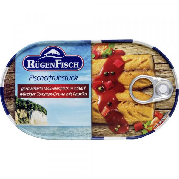 Fischerfrühstück, geräucherte Makrelenfilets in scharf würziger Tomaten-Creme