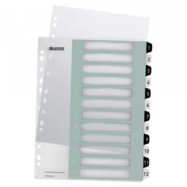 PC-beschriftbares Register, PP, extrabreit, A4, schwarz-weiß, 1-12