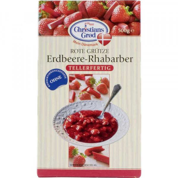Rote Grütze, Erdbeere und Rhabarber