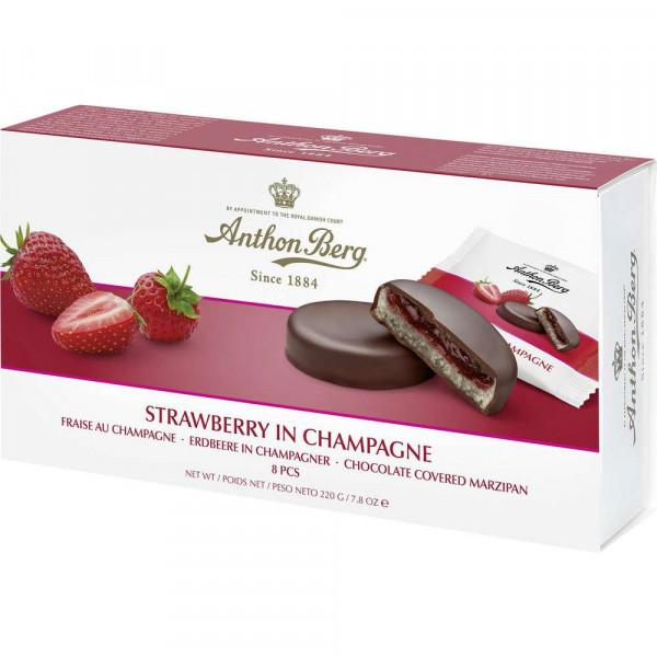 Marzipan mit Erdbeere und Champagner