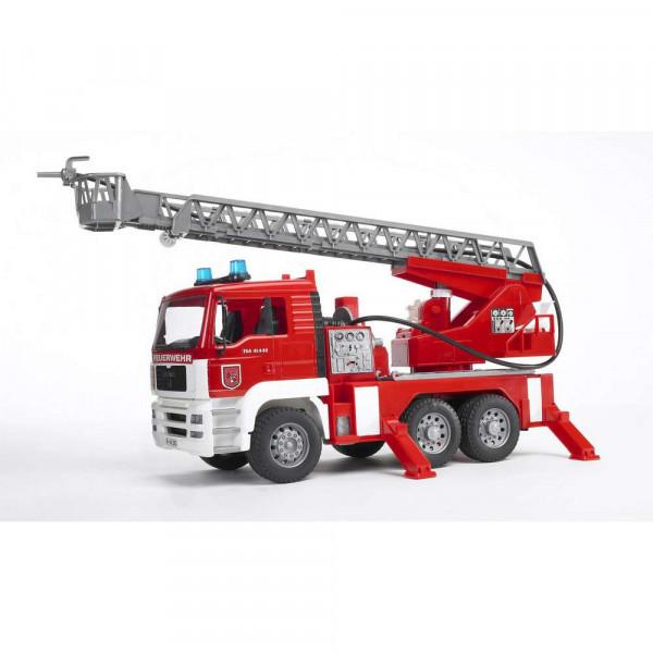 BRUDER MAN TGA Feuerwehr m. Drehleiter, Wasserpumpe + Light & Sound Module