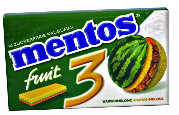 Kaugummistreifen Wassermelone-Ananas-Melone, zuckerfrei