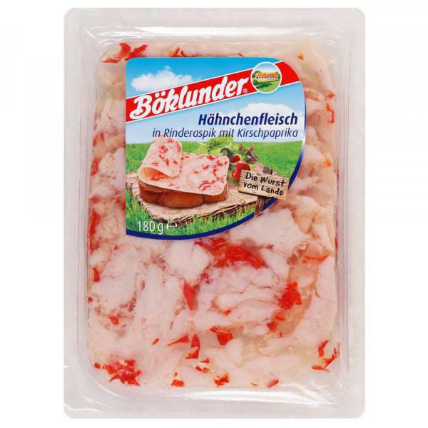 Hähnchenfleisch in Rinderaspik mit Kirschpaprika