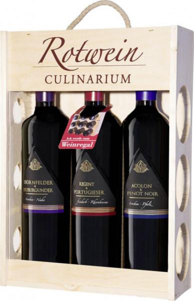 3er Holzkiste Rotwein Culinarium, 3 x 0,75l