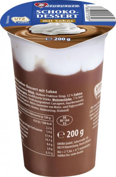 Neuburger Pudding mit Sahne, Schokolade