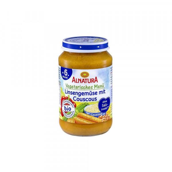 Bio Babynahrung vegetarisches Menü, Linsengemüse mit Couscous